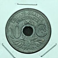 1941 France 10 Centimes Coin, KM# 897, UNC.