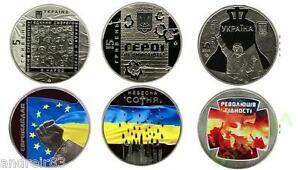 Set of 3 Ukraine coins 2015 Euromaidan Revolution of dignity Heaven hundred