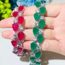 Luxury Ladies Bracelet Genuine Silver 925 Emerald Ruby Gemstone Wedding Gift New