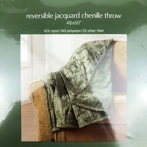 "NEW Sonoma Kohls Reversible Jacquard Sage Chenille Throw Blanket Cover 48""x60"""