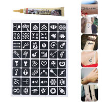 25g Black Henna Tattoo Paste Cream Finger Body Paint + Temporary Tattoo Stencil~