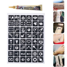 25g Black Henna Tattoo Paste Cream Finger Body Paint + Temporary Tattoo Stencil~