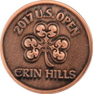 2017 US Open (ERIN HILLS) - FLAT- Large TWO SIDED -BRONZE- Logo Golf BALL MARKER