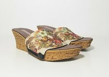 Onesole Womens Floral Jeweled Softstep Interchangeable Slip on Wedge Sandals 9