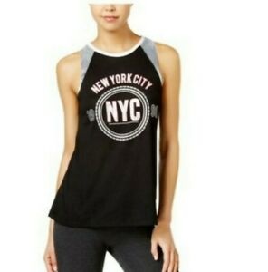 Material Girl Active Tank Top NYC black pink white M stretch sequined