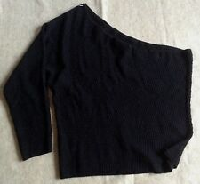 Lane Bryant Sweater Size 26 28 Black One Shoulder Top Texture Knit New