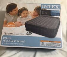 """Intex Deluxe Pillow Rest Raised 16 3/4""""Airbed With Built-In Electric Pump"""