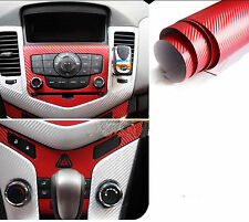 "12"" x 50"" 3D Carbon Fiber Vinyl Car DIY Wrap Sheet Roll Film Sticker decal Red"