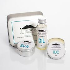 2 The Nines™ Moustache Wax, Beard Oil & Balm - Grooming Kit (Classic Cedarwood)