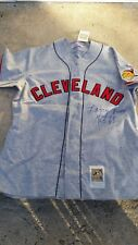 LARRY DOBY SIGNED 1948 JERSEY CLEVELAND INDIANS MITCHELL & NESS ROAD GREY RARE