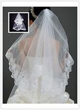 1.5M Hochzeit Brautschleier Stickerei Spitze Schleier Weiß Braut Neu