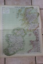 Antiguo carta Atlas universal Geografía 1919 Nº17 Restaurantes y Irlanda