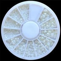 White Pearl Nail Art Stone Different Size Wheel Rhinestones Beads M57 AD