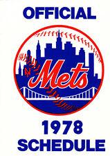 1978 NEW YORK METS BASEBALL POCKET SCHEDULE