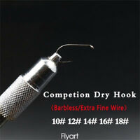 5sizes Super Fine Wire Barbless Dry Fly Hooks Competiton Fly Fishing Hooks