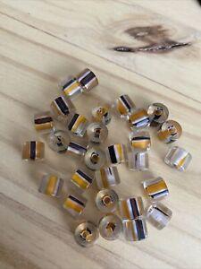 30 HALLOWEEN ORANGE BLACK Cane Furnace FUSED Glass Tube  Slice Striped Beads 8mm