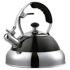 BLACK 3.5 LITRE STAINLESS STEEL WHISTLING KETTLE GAS & ELECTRIC HOBS FAST BOIL