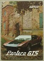 DE TOMASO PANTERA GTS Sports Car Sales Brochure Sept 1980