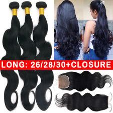 LONG 3 Bundles with Closure 100% Virgin Human Hair Full Head Body Wave 8-30inch