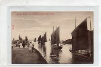 """""""""""POSTCARD HARBOUR MOUTH AND TRAWLERS GOING TO SEA,LOOE,CORNWALL"""""""""""