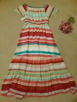 Belle Sky Colorful Striped Ruffle Flutter sleeve Maxi Dress Size Medium NWT