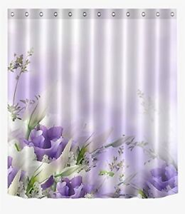 Lavender Light Purple Floral Fabric Shower Curtain Farmhouse Boho Chic + Hooks