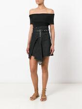 dd6828208b NWT ISABEL MARANT Eydie asymmetric wrap effect denim skirt - black 36   4