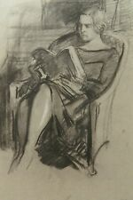 An original drawing by Albert Sterner, Seated Reading Woman