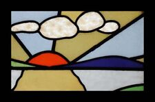 Art Deco Sunburst English Stained Glass Window With Amazing Clouds