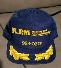 Vintage R.P.M. Embroidered Mesh Trucker Hat Advertising Navy Blue scrambled eggs