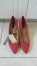 MANGO RED PINK SUEDE  LEATHER COURT HEELED SHOES UK7 NEW WITH TAGS