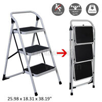 Protable 3 Steps Ladder Extension Folding Anti-Slip Safety Tread Heavy Duty