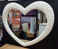 "Large Heart Wall Mirror Ornate French Engrved Roses 110X90cm 43""x35"" Cream"