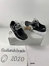 Visvim Mens Patent Leather Black Shiny Slip On Boat Shoes Sz 9 NIB