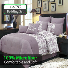 12PC Bundle- Bliss Purple Bed in a Bag Including: Comforter Set and a Sheet Set