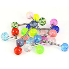 12pcs Tongue Nipple Bars Lip Ring Barbell Body Piercing Jewelry Gift Punk V-