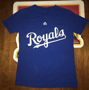 Majestic Kansas City Royals Jedi Knight 2-sided T-Shirt Boys Small 8 Star Wars
