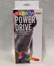 """Pride Rainbow Power Drive Strap On Dildo w/ Harness 7"""" Vaginal Anal Pegging Dong"""