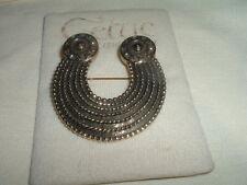 Celtic Soldor Horseshoe Goldtone Black Pin Brooch in Gift Box