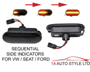 VW Seat Ford Dynamic LED side indicator repeaters smoked black sequential light