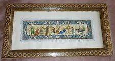 Miniature orientale peinture sur plaque, cadre façon micro mosaïque