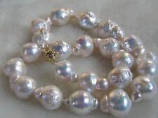 Baroque 22x15mm natural  south seas white  pearl necklace 18 inch 14K clasp