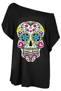 Womens Ladies Halloween Sugar Skull Horror Costume Oversized Baggy T-Shirt Top