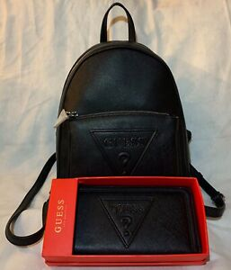 Guess Black Backpack With Matching Black Guess Wallet Brand New With Tag
