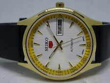 GOLD PLEATED SEIKO 5 AUTOMATIC DAY DATE 17 JEWELL JAPAN MADE WORKING MAN'S WATCH