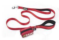 Dog Leash 4ft Long Heavy Duty Nylon Double Padded Handle RED
