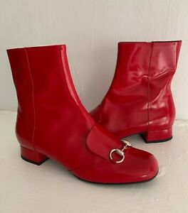 $1595 GUCCI Red Patent Leather Lillian Horsebit Ankle Bootie Boots RARE 8.5 38.5