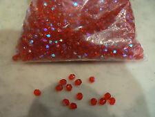 sachet perles percées  5 mm cristal ou verre rouge irisé  fabrication bijoux 26