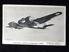 """VALENTINE'S WWII AIRCRAFT RECOGNITION CARD """"THE BRISTOL BEAUFIGHTER"""" BRITISH #16"""