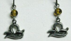 Zodiac earrings - Libra (9/24-10/23) yellow bead
